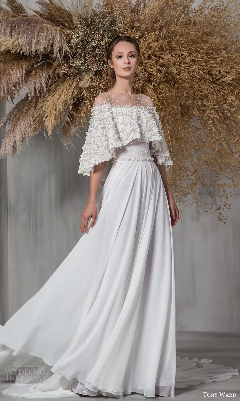 tony ward 2021 bridal cape flutter sleeves off shoulder neckline pearl embellished bodice a line wedding dress chapel train (21) mv