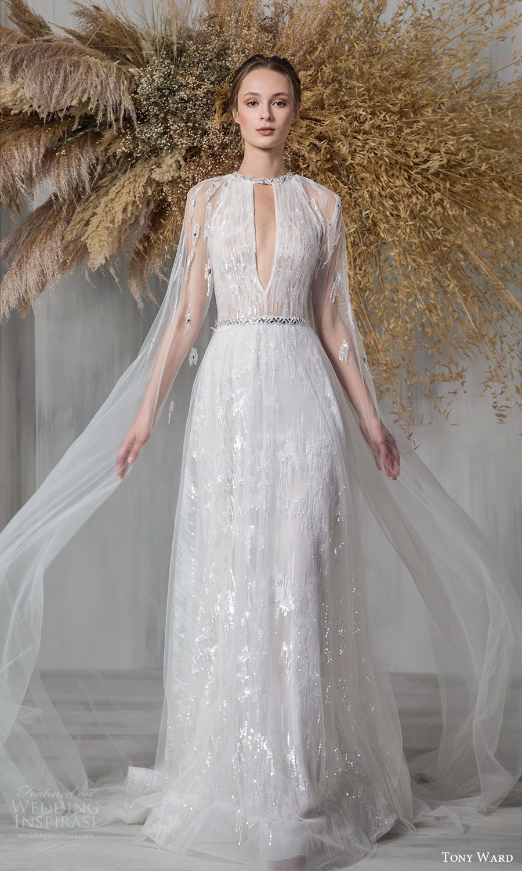 tony ward 2021 bridal long cape sleeves jewel neckline cutout bodice embellished a line wedding dress chapel train (16) mv