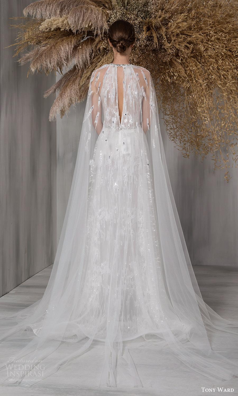 tony ward 2021 bridal long cape sleeves jewel neckline cutout bodice embellished a line wedding dress chapel train keyhole back (16) bv