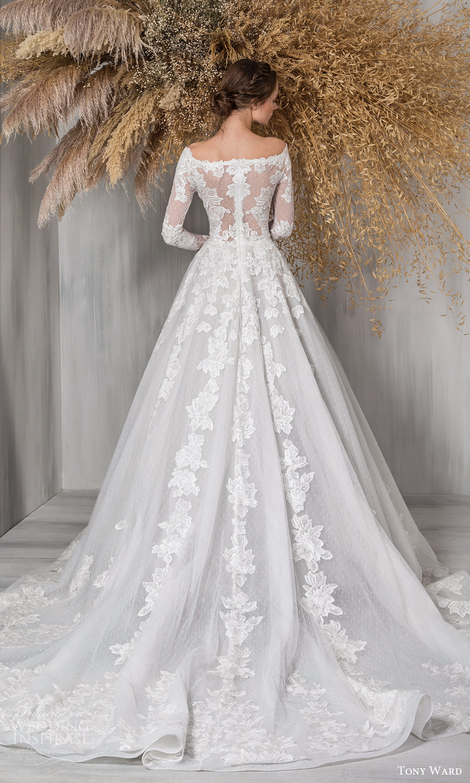 tony ward 2021 bridal long sleeves bateau neckline fully embellished a line ball gown wedding dress chapel train (6) bv