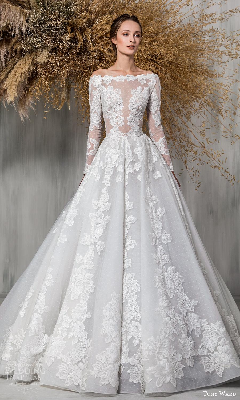 tony ward 2021 bridal long sleeves bateau neckline fully embellished a line ball gown wedding dress chapel train (6) mv