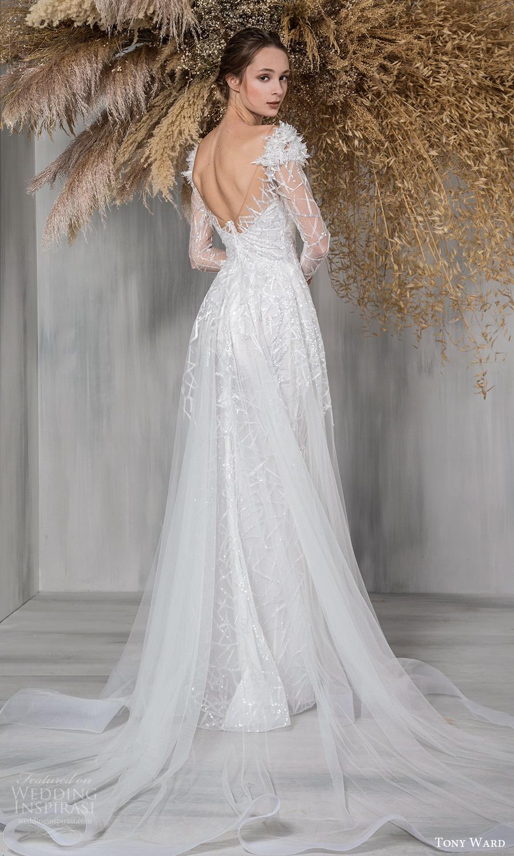 tony ward 2021 bridal long sleeves off shoulder sweetheart neckline fully embellished a line ball gown wedding dress chapel train (12) bv