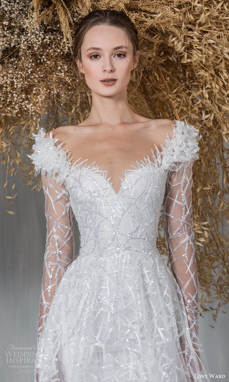 tony ward 2021 bridal long sleeves off shoulder sweetheart neckline fully embellished a line ball gown wedding dress chapel train (12) mv
