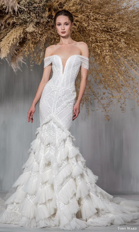 tony ward 2021 bridal off shoulder straps plunging sweetheart neckline embellished fit flare mermaid wedding dress chapel train (20) mv