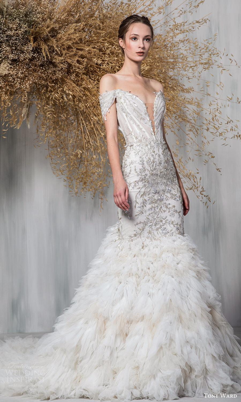 tony ward 2021 bridal off shoulder straps plunging sweetheart neckline fully embellished a line wedding dress chapel train (22) mv