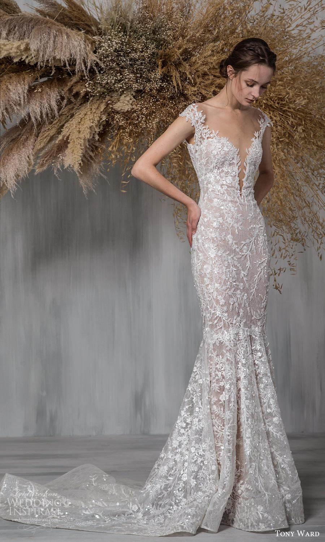 tony ward 2021 bridal off shoulder straps plunging v sweetheart neckline fully embellished sheath mermaid wedding dress chapel train (13) mv