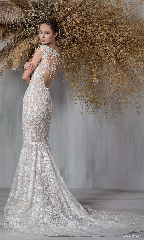 tony ward 2021 bridal off shoulder straps plunging v sweetheart neckline fully embellished sheath mermaid wedding dress chapel train illusion back (13) bv