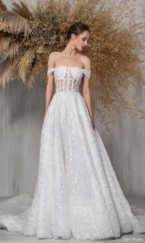 tony ward 2021 bridal off shoulder straps semi sweetheart neckline a line ball gown wedding dress chapel train (25) mv