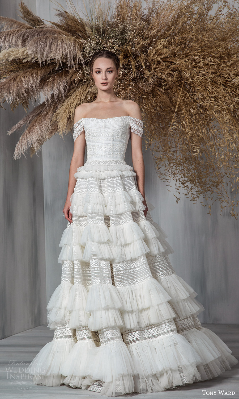 tony ward 2021 bridal off shoulder straps straight across neckline embellished a line ball gown wedding dress ruffle skirt chapel train (17) mv