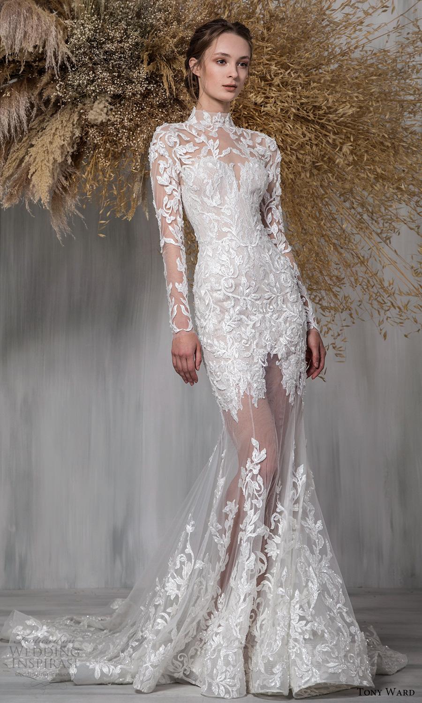tony ward 2021 bridal sheer long sleeves high neckline embellished bodice sheer skirt fit flare wedding dress chapel train (4) mv