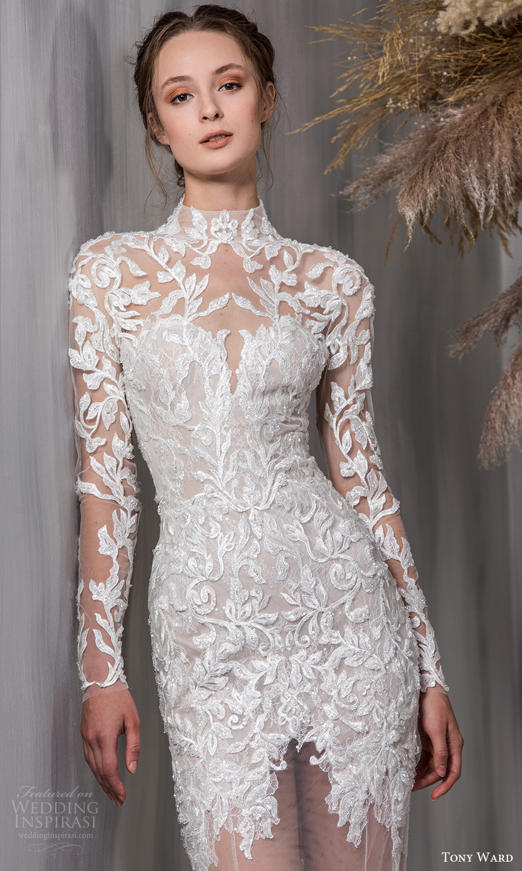 tony ward 2021 bridal sheer long sleeves high neckline embellished bodice sheer skirt fit flare wedding dress chapel train (4) zv