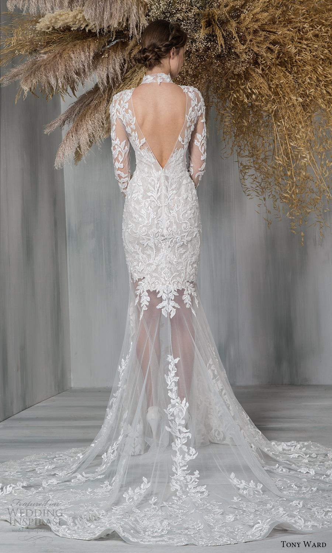 tony ward 2021 bridal sheer long sleeves high neckline embellished bodice sheer skirt fit flare wedding dress chapel train cutout back (4) bv