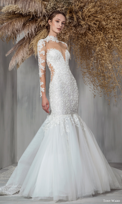 tony ward 2021 bridal sheer long sleeves high sweetheart neckline embellished bodice fit flare mermaid wedding dress chapel train (2) mv