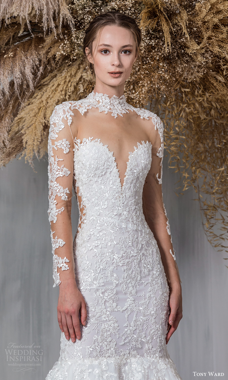 tony ward 2021 bridal sheer long sleeves high sweetheart neckline embellished bodice fit flare mermaid wedding dress chapel train (2) zv