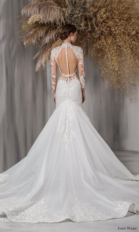 tony ward 2021 bridal sheer long sleeves high sweetheart neckline embellished bodice fit flare mermaid wedding dress chapel train cutout open back (2) bv