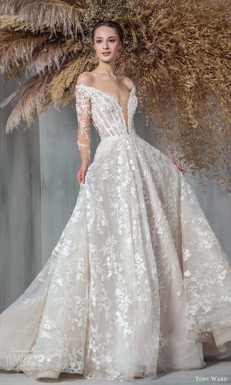 tony ward 2021 bridal sheer long sleeves off shoulder plunging v neckline fully embellished a line ball gown wedding dress chapel train (1) mv