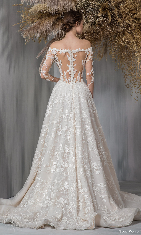 tony ward 2021 bridal sheer long sleeves off shoulder plunging v neckline fully embellished a line ball gown wedding dress chapel train illusion back (1) bv