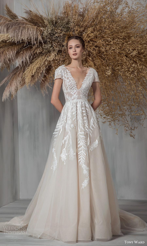 tony ward 2021 bridal short sleeve plunging v neckline embellished bodice a line ball gown wedding dress chapel train (18) mv