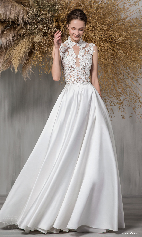 tony ward 2021 bridal sleeveless mini cap sleeves high neckline embellished bodice clean skirt a line ball gown wedding dress chapel train (10) mv
