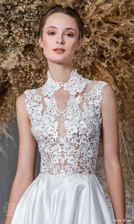 tony ward 2021 bridal sleeveless mini cap sleeves high neckline embellished bodice clean skirt a line ball gown wedding dress chapel train (10) zv