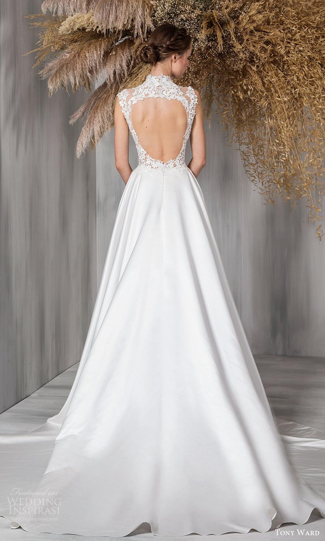 tony ward 2021 bridal sleeveless mini cap sleeves high neckline embellished bodice clean skirt a line ball gown wedding dress chapel train keyhole back (10) bv