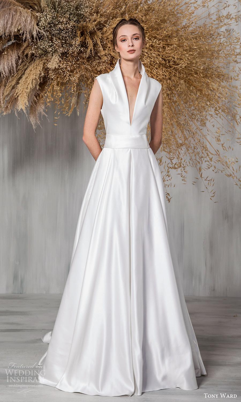 tony ward 2021 bridal sleeveless plunging v neckline clean mininalist a line wedding dress chapel train (7) mv