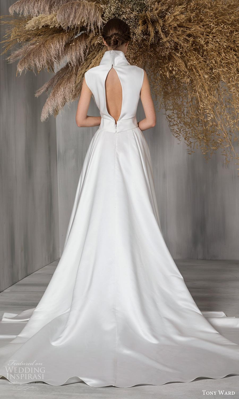 tony ward 2021 bridal sleeveless plunging v neckline clean mininalist a line wedding dress chapel train keyhole back (7) bv