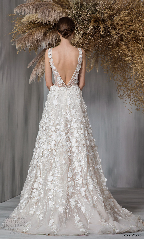 tony ward 2021 bridal sleeveless straps plunging neckline fully embellished a line ball gown wedding dress chapel train (5) bv