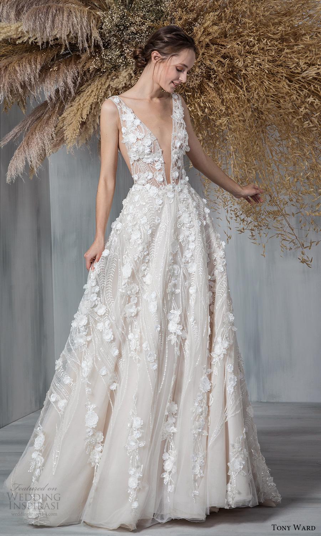 tony ward 2021 bridal sleeveless straps plunging neckline fully embellished a line ball gown wedding dress chapel train (5) mv