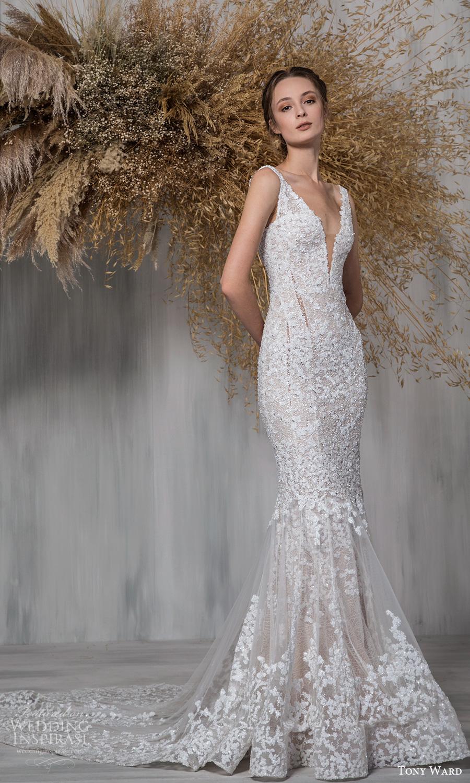 tony ward 2021 bridal sleeveless straps plunging v neckline fully embellished fit flare mermaid wedding dress chapel train (25) mv