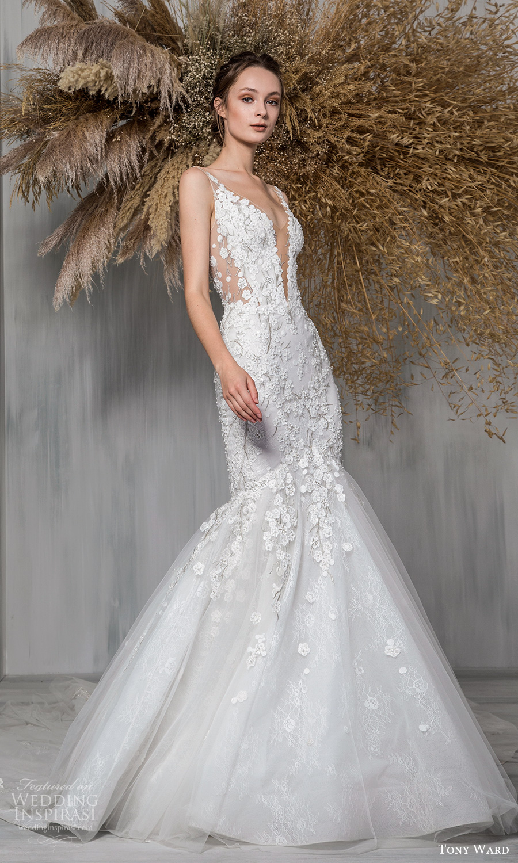 tony ward 2021 bridal sleeveless straps plunging v neckline fully embellished fit flare mermaid wedding dress chapel train (26) mv