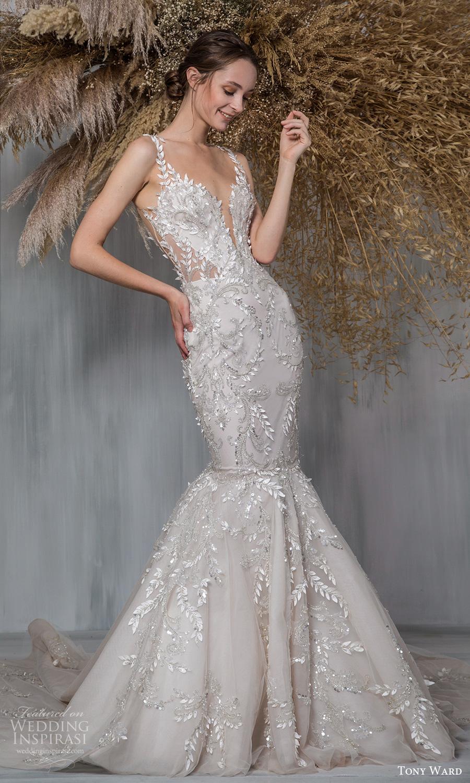tony ward 2021 bridal sleeveless straps plunging v neckline fully embellished fit flare mermaid wedding dress chapel train (9) mv
