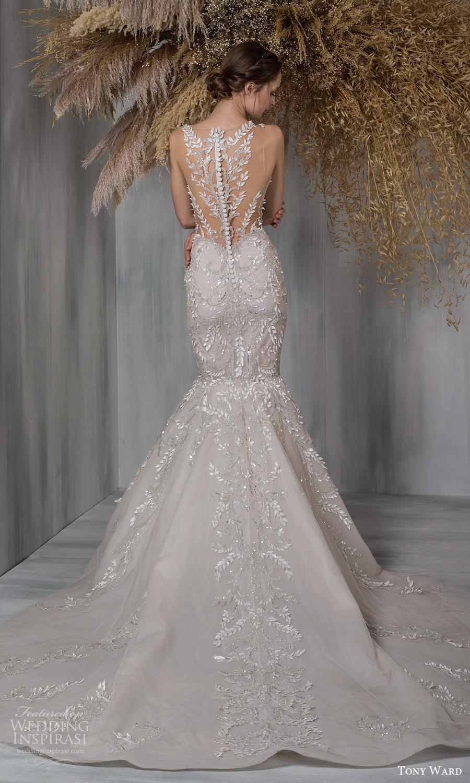 tony ward 2021 bridal sleeveless straps plunging v neckline fully embellished fit flare mermaid wedding dress chapel train illusion back (9) mv