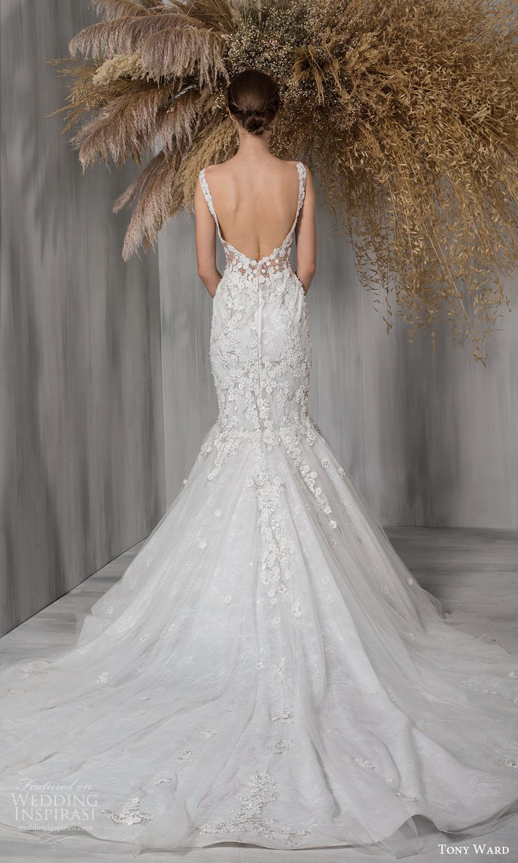 tony ward 2021 bridal sleeveless straps plunging v neckline fully embellished fit flare mermaid wedding dress chapel train scoop back (26) bv