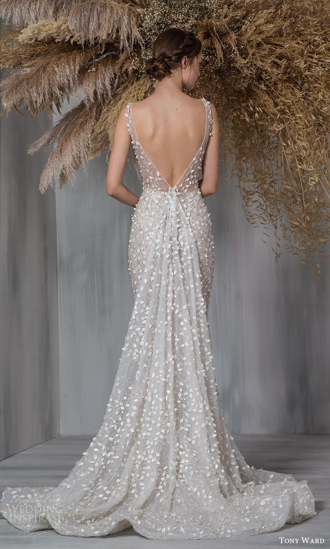 tony ward 2021 bridal sleeveless straps plunging v neckline fully embellished fit flare mermaid wedding dress chapel train v back (11) bv