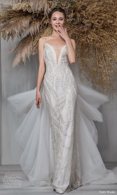 tony ward 2021 bridal sleeveless thin straps plunging vnecklnie fully embellished sheath wedding dress ruffle chapel train (15) mv