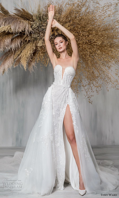 tony ward 2021 bridal strapless sweetheart neckline fully embellished a line ball gown wedding dress slit skirt chapel train (3) mv