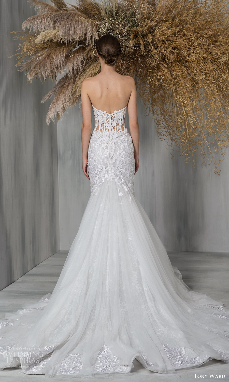 tony ward 2021 bridal strapless sweetheart neckline heavily embellished bodice fit flare trumpet a line wedding dress chapel train (23) bv