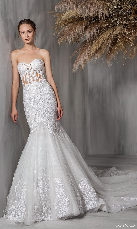tony ward 2021 bridal strapless sweetheart neckline heavily embellished bodice fit flare trumpet a line wedding dress chapel train (23) mv