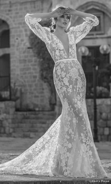 arava polak 2021 bridal 3 quarter puff marie poet sleeves plunging v neckline fully embelished lace sheer sheath columen wedding dress (1) fv