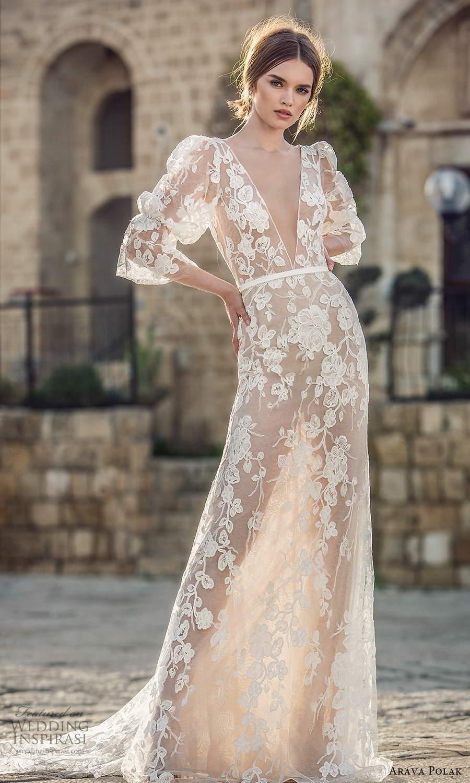 arava polak 2021 bridal 3 quarter puff marie poet sleeves plunging v neckline fully embelished lace sheer sheath columen wedding dress (1) mv