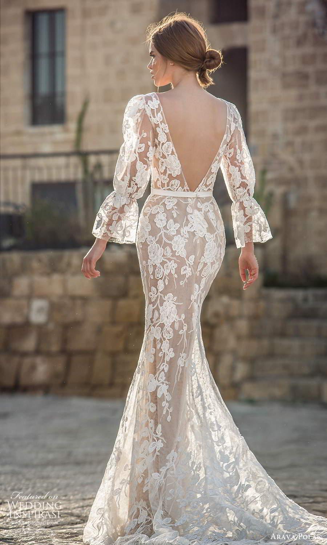 arava polak 2021 bridal 3 quarter puff marie poet sleeves plunging v neckline fully embelished lace sheer sheath columen wedding dress v back (1) bv