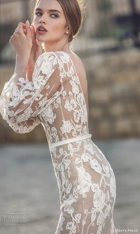 arava polak 2021 bridal 3 quarter puff marie poet sleeves plunging v neckline fully embelished lace sheer sheath columen wedding dress v back (1) zbv