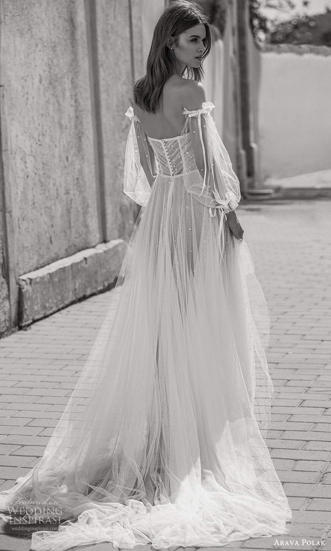 arava polak 2021 bridal detached bishop sleeves strapless sweetheart neckline fully embellished dotted a line wedding dress chapel train blush (9) bv