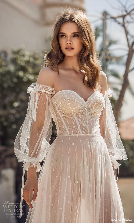 arava polak 2021 bridal detached bishop sleeves strapless sweetheart neckline fully embellished dotted a line wedding dress chapel train blush (9) zv