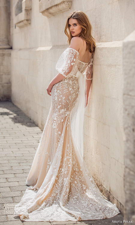 arava polak 2021 bridal detached puff sleeves strapless sweetheart neckline fully embellished trumpet mermaid wedding dress chapel train champagne color (5) bv