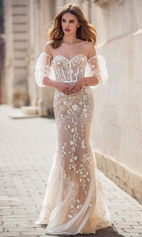 arava polak 2021 bridal detached puff sleeves strapless sweetheart neckline fully embellished trumpet mermaid wedding dress chapel train champagne color (5) mv