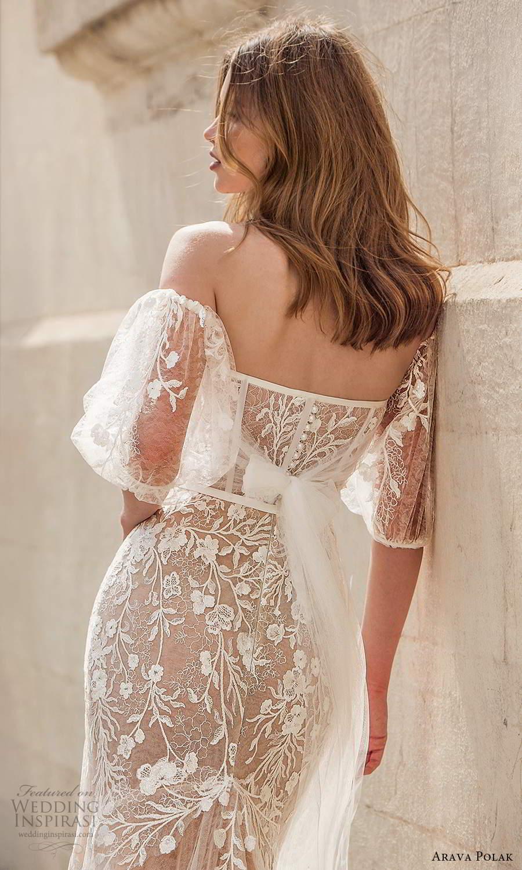 arava polak 2021 bridal detached puff sleeves strapless sweetheart neckline fully embellished trumpet mermaid wedding dress chapel train champagne color (5) zbv