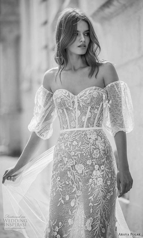 arava polak 2021 bridal detached puff sleeves strapless sweetheart neckline fully embellished trumpet mermaid wedding dress chapel train champagne color (5) zv