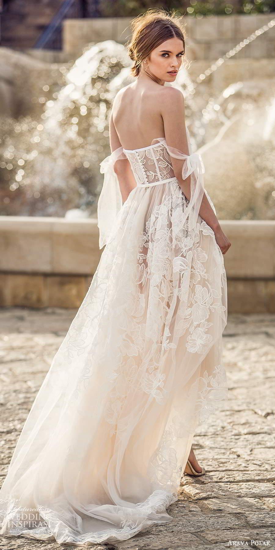 arava polak 2021 bridal off shoulder swag sleeves sweetheart neckline fully embellished a line ball gown wedding dress chapel train (3) bv